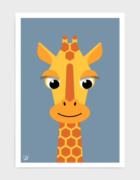 kids illustrated giraffe print with a cute giraffe head with long eyelashes against a blue background.