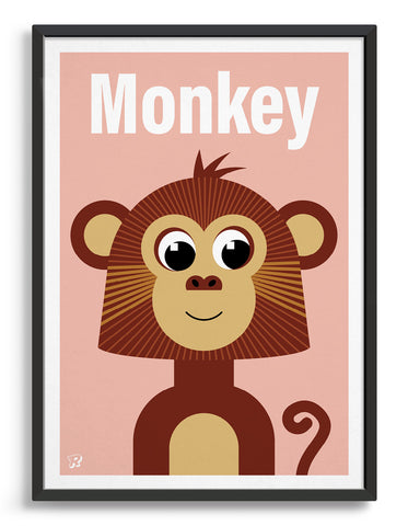 kids monkey illustrated art print with a brown cute monkey illustration on a pink backround. The word Monkey is at the top in a white font
