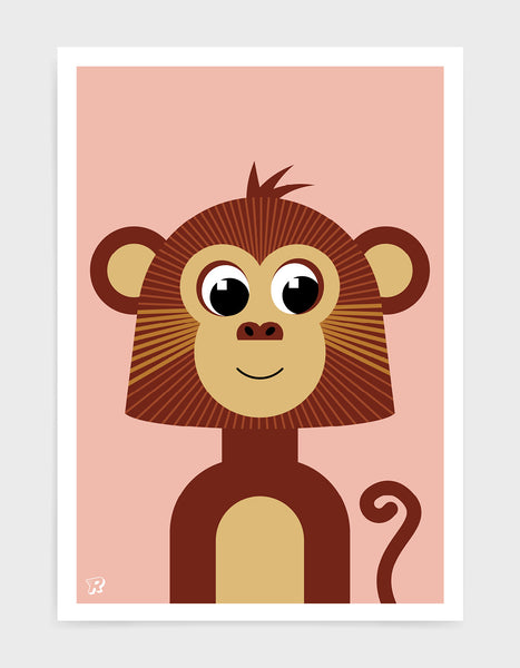 kids monkey illustrated art print with a brown cute monkey illustration on a pink backround.