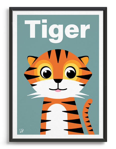 Cute kids tiger print with illustration of friendly tiger on a blue grey background. The word tiger is printed in white text above the tiger