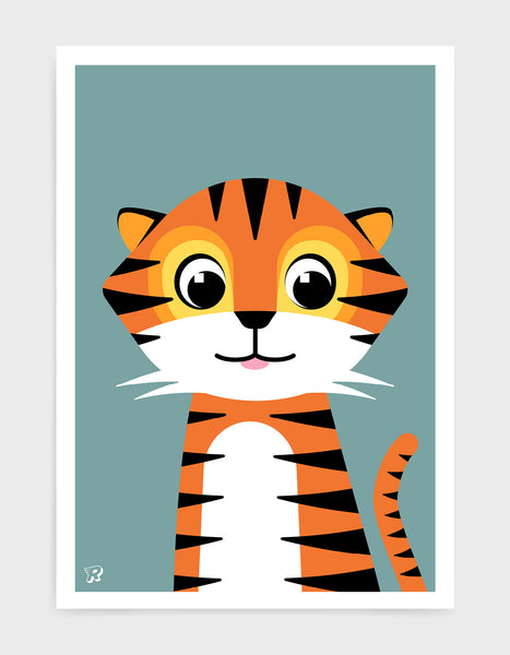 Cute kids tiger print with illustration of friendly tiger on a blue grey background