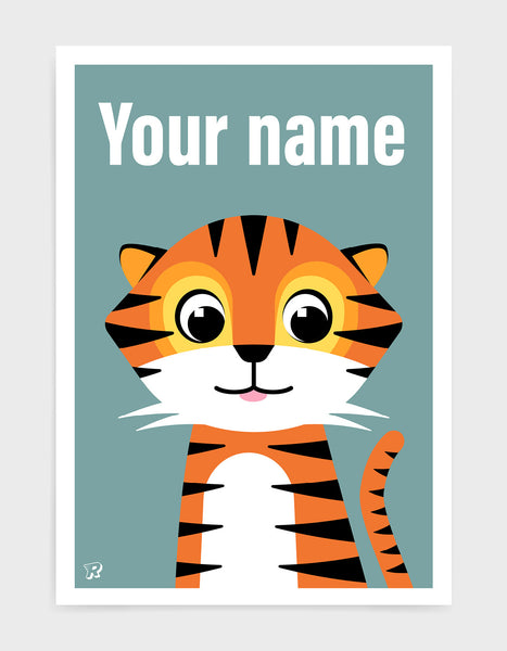 Cute kids tiger print with illustration of friendly tiger on a blue grey background. The word your name is printed in white text above the tiger to show where you can add personalised details