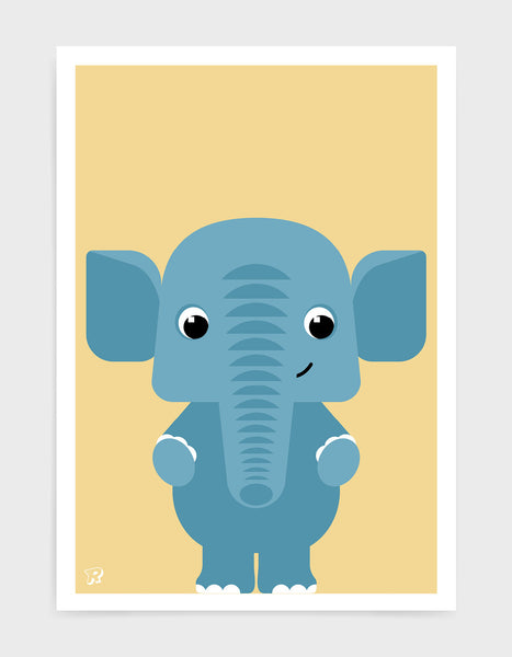 childs art print depicting a cute elephant illustration in blue against a yellow background.