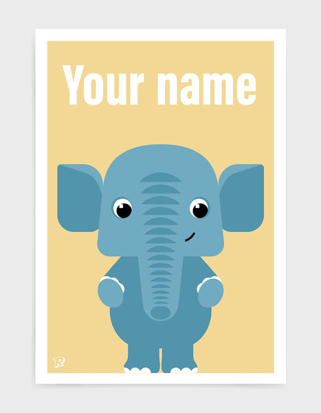 childs art print depicting a cute elephant illustration in blue against a yellow background. The words your name are written above as the picture can be customised