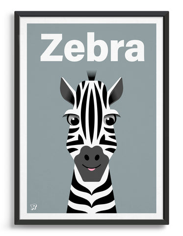 kids cute zebra art print with an illustration of a friendly zebra on a grey background. The word zebra is written along the top in a white font