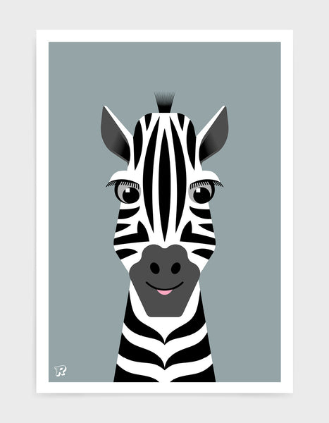 kids cute zebra art print with an illustration of a friendly zebra on a grey background.
