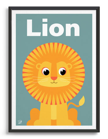 kids art print featuring a cute illustrated lion on a blue background with the word Lion in white text at the top