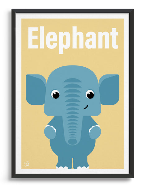 childs art print depicting a cute elephant illustration in blue against a yellow background. The word elephant is written above
