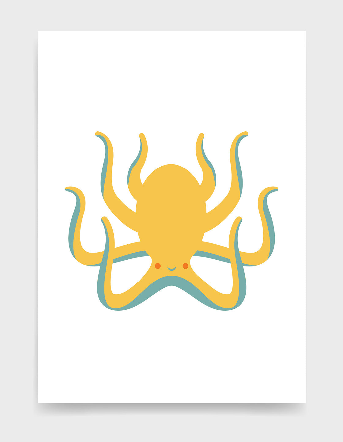 Kids octopus art print depicts a cute yellow octopus with a smiling face and blue underneath against a white background