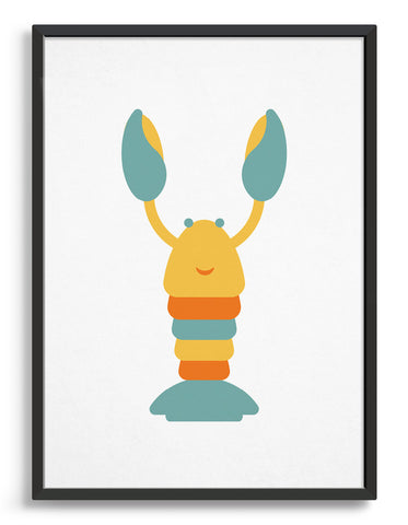 Kids cute lobster print featuring a mulito colour lobster in yellow, orange and blue with a smiling friendly face against a white background
