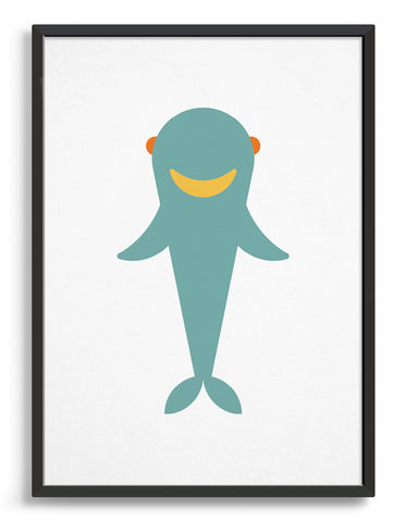 Kids cute baby shark print featuring a blue shark against a white background with a happy smiling face