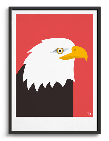 art print of an American bald eagle in profile against a red background