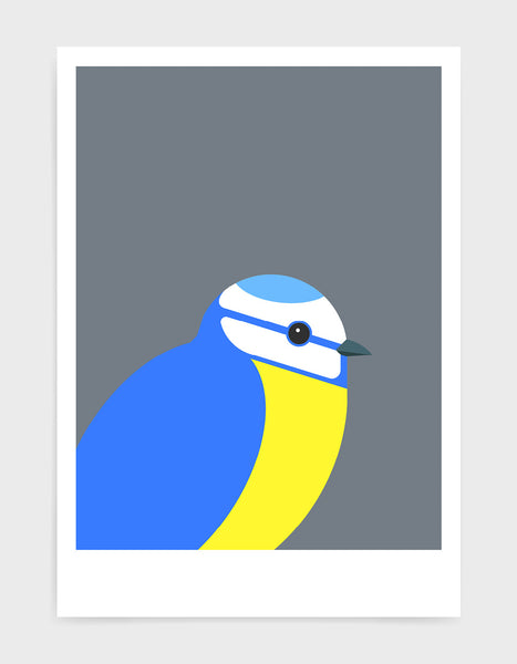 modern illustration of a blue tit bird against a dark grey background