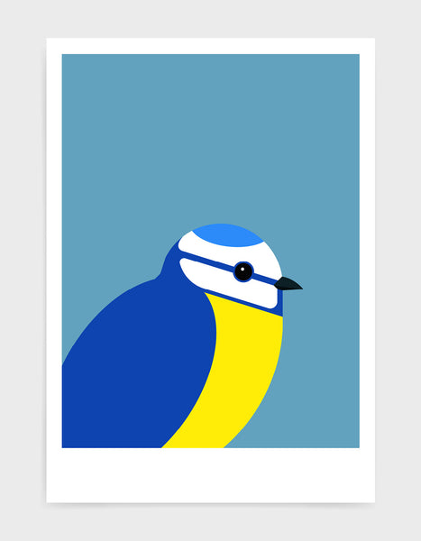 modern illustration of a blue tit bird against a sky blue background