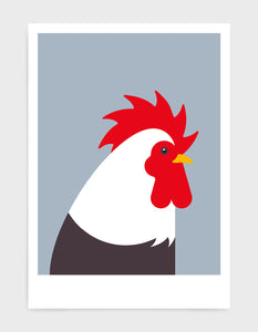 Modern cockerel / chicken illustration against a light grey background