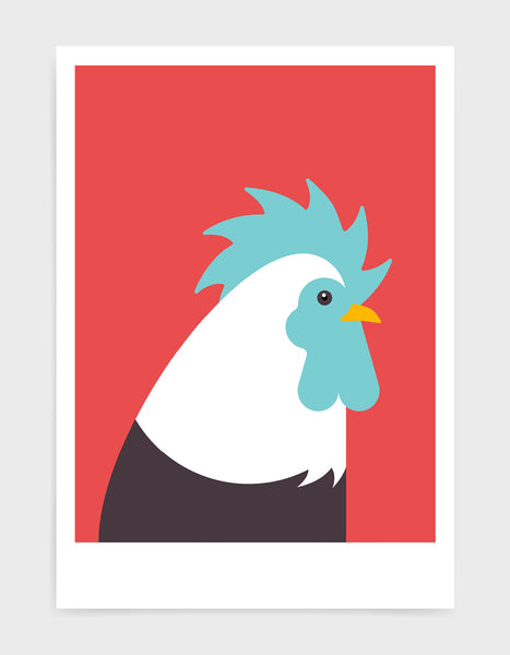 Modern cockerel / chicken illustration against a red background