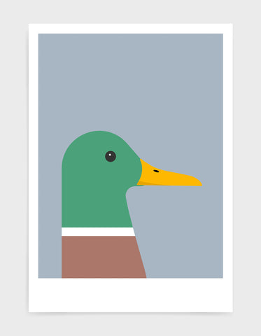 modern colourful duck illustration against a light grey background