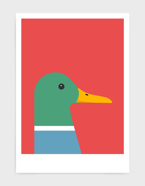 modern colourful duck illustration against a red background