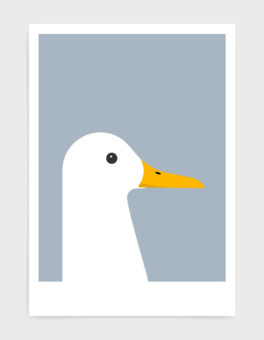 modern white duck print on a light grey background