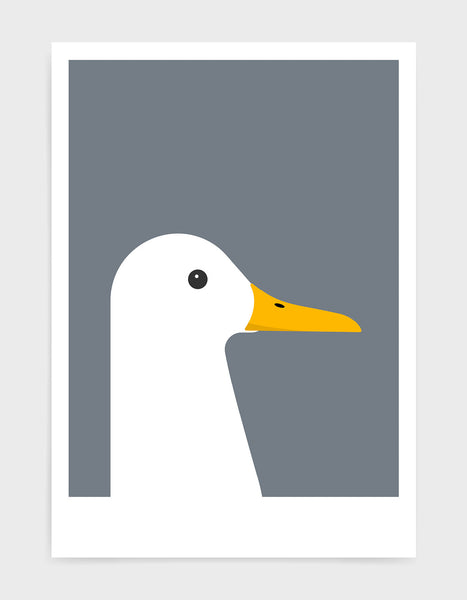 modern white duck print on a dark grey background