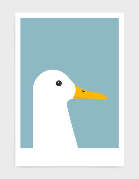 modern white duck print on a light blue background