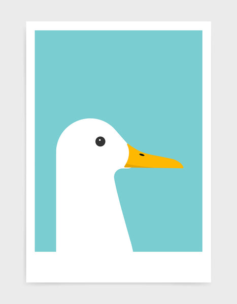 modern white duck print on a aqua blue background