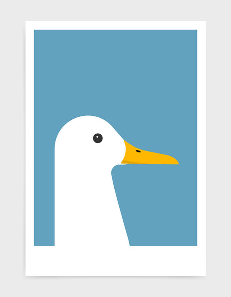 modern white duck print on a sky blue background