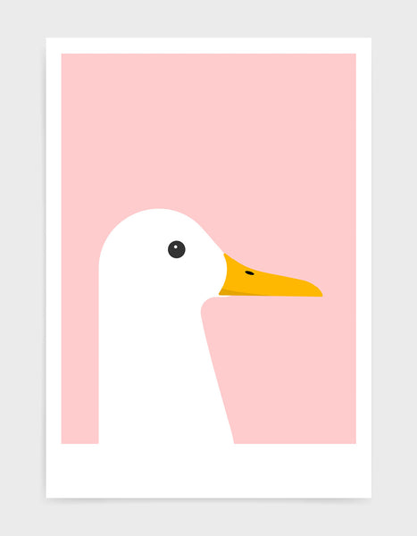 modern white duck print on a pink background