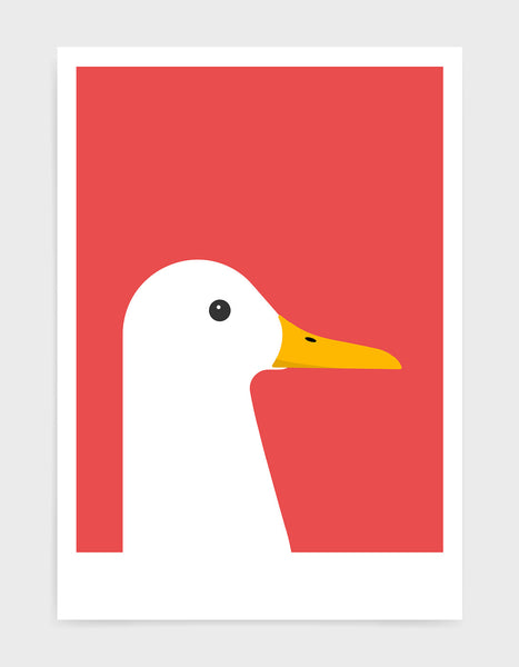modern white duck print on a red background
