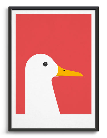 framed modern white duck print on a red background