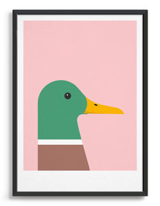 modern colourful duck illustration against a pink background