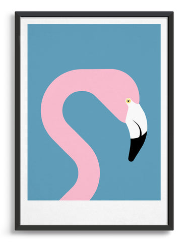 framed pink flamingo art print on sky blue background
