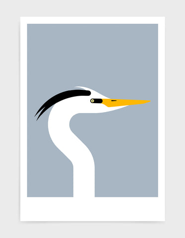 Modern art print of a heron bird in profile against a light grey background