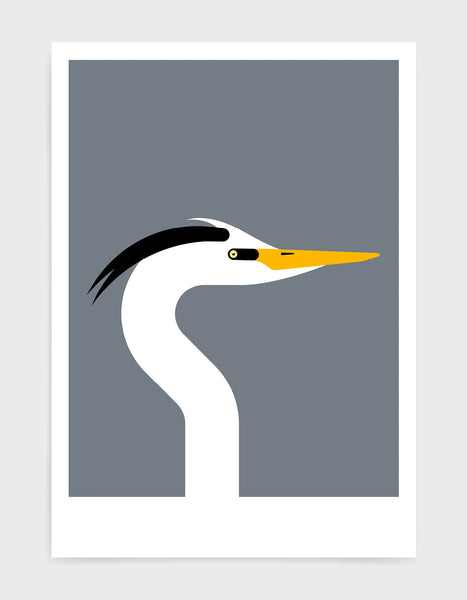 Modern art print of a heron bird in profile against a dark grey background