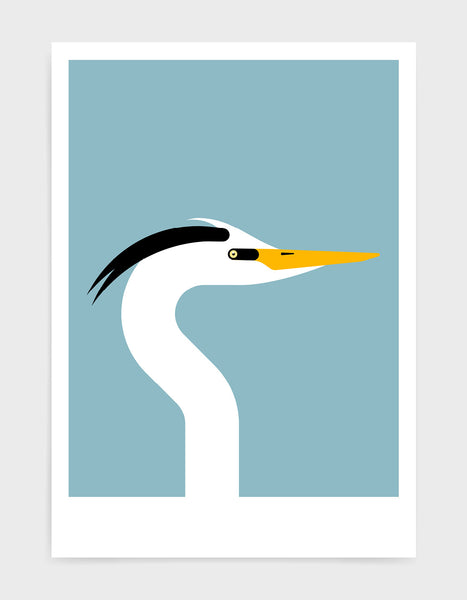 Modern art print of a heron bird in profile against a light blue backgrond