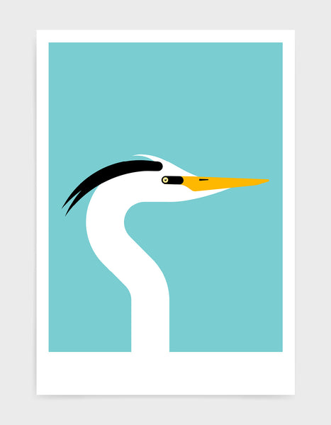 Modern art print of a heron bird in profile against a aqua blue background