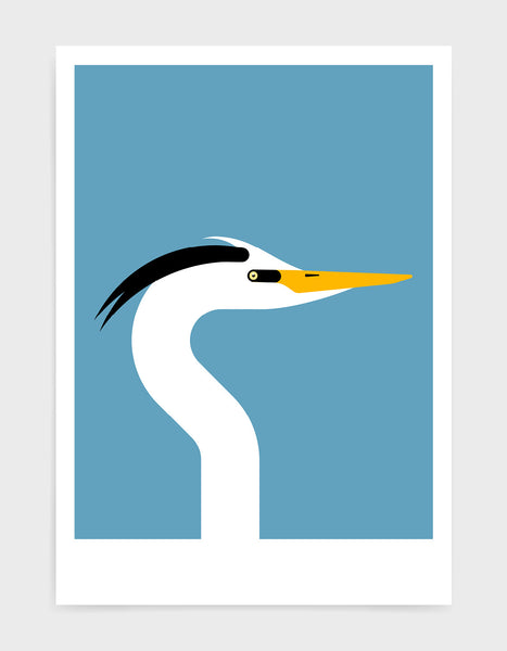 Modern art print of a heron bird in profile against a sky blue background