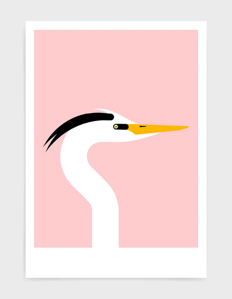 Modern art print of a heron bird in profile against a pink background