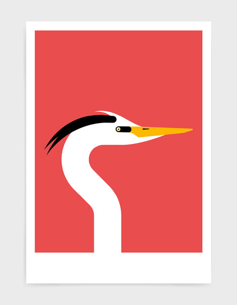 Modern art print of a heron bird in profile against a red background