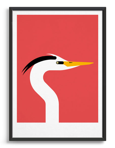 framed modern art print of a heron bird in profile against a red background