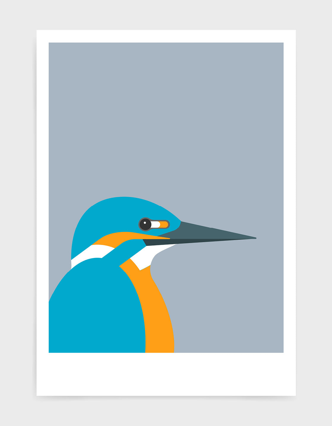 art print of a kingfisher bird against a light grey background