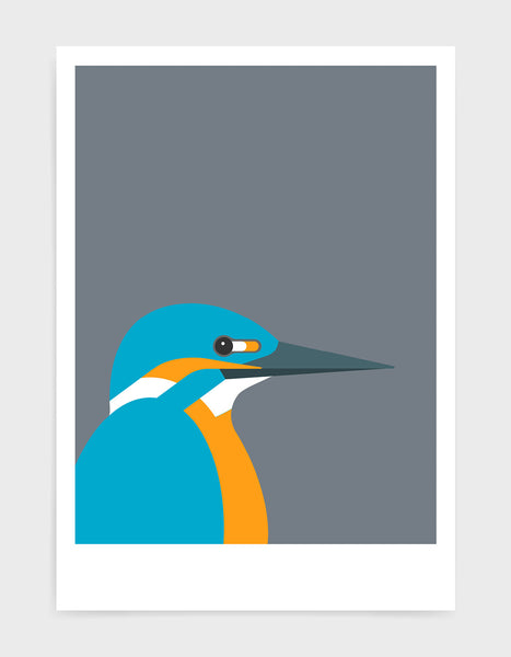 art print of a kingfisher bird against a dark grey background