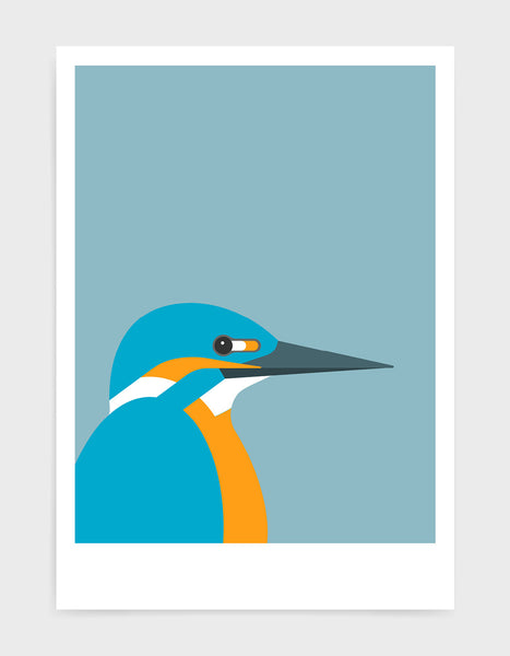 art print of a kingfisher bird against a light blue background