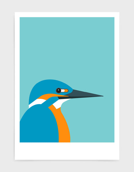 art print of a kingfisher bird against a aqua blue background