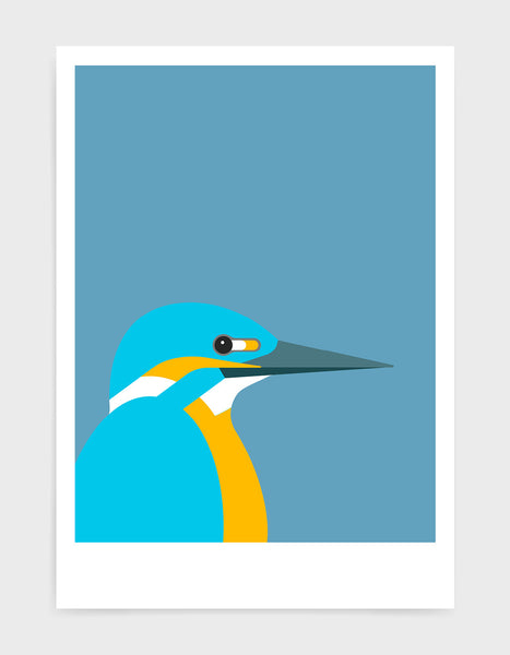 art print of a kingfisher bird against a sky blue background
