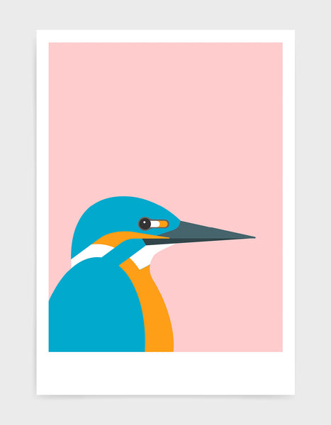art print of a kingfisher bird against a pink background
