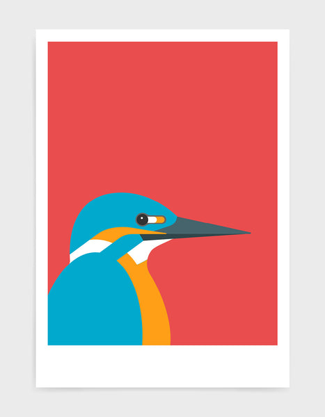 art print of a kingfisher bird against a red background