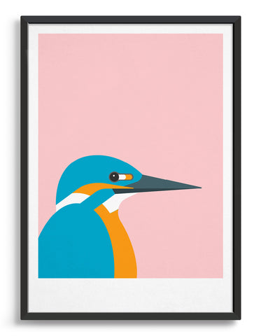 framed art print of a kingfisher bird against a pink background