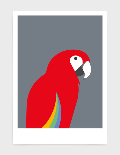 art print of a macaw parrot against a dark grey background