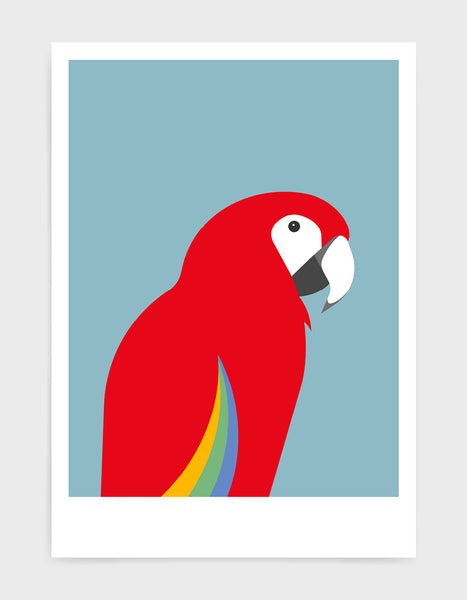 art print of a macaw parrot against a light blue background